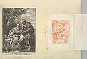 Leaf from Aedes Walpolianae mounted with a print and a drawing: (a): The Virgin and Joseph with the Young Jesus; (b): Acis and Galatea