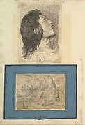 Leaf from Aedes Walpolianae mounted with a print and a drawing (a): Head in Profile of Prodigal Son; (b): The Wagonner (after Peter Paul Rubens) in Jean-Paul Mariette mount
