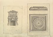 Leaf from Aedes Walpolianae mounted with two drawings: (a): Hall Chimney-Piece, Houghton Hall, Norfolk; (b): Hall Ceiling, Houghton Hall, Norfolk