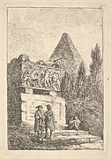 Plate 6: The Sarcophagus: two men conversing to left, another man seated and sleeping to right, an ancient sarcophagus to left decorated with reliefs, a pyramid to right in the background half-hidden by cyprus trees, from 'Les soirées de Rome'