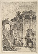 Plate 5: The Ancient Temple: a woman descending a staircase at left and giving alms to a beggar, a rotunda at right, from 'Les soirées de Rome'
