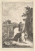 Plate 8: The Triumphal Arch: a man standing atop an architectural fragment in center with two men below, seen from behind, remains of a triumphal arch in the background and the ruins of an arcade to right, from 'Les soirées de Rome'