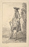 Man walking and carrying a cane in his right hand, shown in three-quarters view with his head turned away from the viewer, from the series 'Figures of fashion' (Figures de modes)