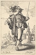 Plate 8: a gentleman walking forward, with his right arm outstretched and a whip in his left hand, wearing a plumed hat and decorated shoes, from 'La Jardin de la Noblesse Françoise dans lequel ce peut ceuillir leur maniere de Vettements'