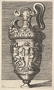 Vase with Two Winged Figures Draping a Term
