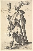Caspar, shown standing in three-quarters view with his left leg stretched forward, in his right hand he holds aloft a lidded vessel
