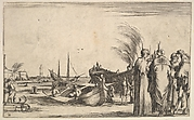 Three Turks and an Italian gentleman standing to right, men work on small boats in center, a fortress to left in the background, from 'Set of eight nautical landscapes' (Suite de huit Marines)