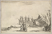 Three men wearing hats standing in center, men fixing a ship to right, five ships and various figures in center background, from 'Set of eight nautical landscapes' (Suite de huit Marines)