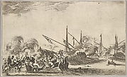 Combat between several rowboats and ships, two groups of men in rowboats fighting to left, two ships full of combatants to right, other ships and clouds of smoke in the background, from 'Set of eight nautical landscapes' (Suite de huit Marines)