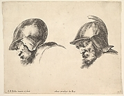 Plate 10: two heads of old soldiers wearing helmets, both facing left and looking downwards, from 'The principles of design' (I principii del disegno)