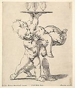 Three children carrying a tray, child to the left holds the child on top of him who carries the tray supporting three glasses, the child to the right holds the legs of the child on top of him