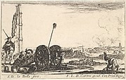Plate 2: A cannon to the left, a town in the background, from 'Various Military Caprices' (Varii capricci militari)