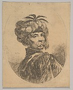 A Turkish man with a moustache, wearing a turban decorated with five egret feathers, turned three-quarters to the right, an oval composition, from 'Several heads in the Persian style' (Plusieurs têtes coiffées à la persienne)
