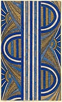 Panel with a Pattern of Sunrises and a Central Blue and White Striped Band