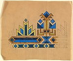 Horizontal Pattern with a Band of Blue Lozenges Framed with Yellow Chevrons Against a Teal Background at the Bottom