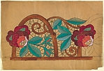 Horizontal Panel with a Pattern of Pink and Orange Roses on Decorative Vines