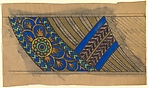 Horizontal Frieze with a Diagonal Band with a Pattern of Overlapping Green and Blue Squares in the Border
