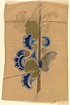 Vertical Panel with Repeating Pattern with Blue and Gold Designs and Decorative Butterfly Wings at Right