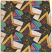 Repeating Pattern of Geometric Shapes with Decorative Leaves in Purple Framed by Yellow Triangles
