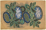 Pattern with Cellular Ovals and Blue Ovals with White Designs, Separated by Decorative Leaves