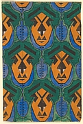 Repetitive Pattern with Orange Masks with Features Formed from Geometric Shapes Against a Green Background