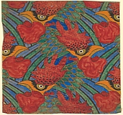 Repetitive Pattern of Decorative Roosters with Blue and Green Feathers