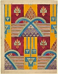 Vertical Geometric Pattern of Alternating Red and Yellow Vertical Panel with Overlapping Arches at Center