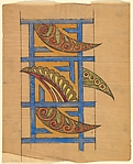 Design for a Frieze with Blue Latticework Overlaid with Paisley Motifs
