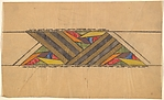 Horizontal Frieze with Triangles Formed by Various Geometric Shapes Between Diagonals Bands of Gold and Gray
