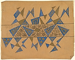 Panel with Blue and Gold Triangles witha Floral Band at Center