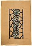 Frieze Divided into Various Geometric Shapes by Black Lines, with a Blue Band Formed from Geometric Shapes at Center