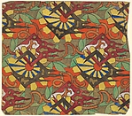 Repetitive Pattern with Yellow Petalled Flowers and Alternating Orange and Green Vertical Stripes in the Background