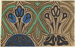 Horizontal Panel with a Pattern of Three Decorative Blue Flowers on a Semi-Circle Between Interlacing Green Lines