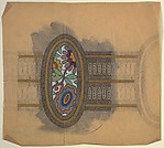 Horizontal Panel with a View of Decorative Flowers in an Oval Frame, Between a Two-Layered Horizontal Band