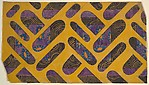 Panel with Ovals of Different Sizes Divided into Sections of Floral Pattern on Purple and Sections of Gold Line on Black