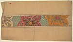 Frieze with Three Large Flowers Formed by Overlapping Crescents, on a Background of Green Stripes