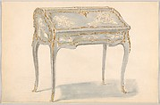 Period-style Designs for a Writing Desk with Chinoiserie Decorations (Louis XV)