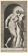 Plate 14: Ceres in a niche, naked, standing on a two-headed snake and holding a half-moon sickle in her right hand and a torch in her left, from a series of mythological gods and goddesses