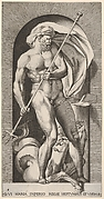 Plate 5: Neptune standing in a niche holding a trident, with a hippocampus (sea-horse) behind him, from a series of gods and goddesses