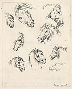 Nine Studies of Heads of Horses, from Various Heads and Figures (Diverses t&#234;tes et figures), plate 17