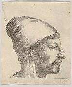 Plate 38: head of a man with a moustache and cap, facing right in profile, from 'Various portraits' (Recueil de diverses pièces servant à l'art de portraiture)