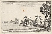 Plate 8: two horsemen in hats at right, each with a woman seated behind them, riding towards the left in profile across a river, a tree at far right, from 'Caprice faict par de la Bella'