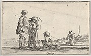 Plate 13: two peasants standing to left, a cripple kneeling on the ground in center, a woman carrying a child seen from behind to right in middleground, a church to right in background, from 'Caprice faict par de la Bella'