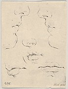 Plate 4: two profiles and three mouths, from 'The Book for Learning to Draw' (Livre pour apprendre à dessiner)