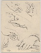 Plate 6: six hands, from 'The Book for Learning to Draw' (Livre pour apprendre à dessiner)