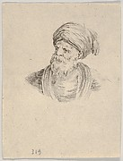 Plate 12: bust of an old Turkish man in a turban, looking towards the left, from 'Various heads and figures' (Diverses têtes et figures)