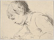 Plate 14: a child writing with a quill, facing left in profile, from 'Various heads and figures' (Diverses têtes et figures)