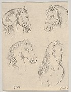 Plate 16: four studies of horse heads, from 'Various heads and figures' (Diverses têtes et figures)