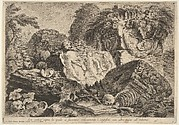 Plate 7: 'Ancient altar on which sacrifices were performed in antiquity, surrounded by other ruins' (Ara antica sopra la quale si facevano anticamente i sagrifizi, con altre ruine all' intorno), from the series 'Part one of architecture and perspectives: drawn and etched by Gio. Batt'a Piranesi, Venetian Architect: dedicated to Nicola Giobbe' (Prima parte di Architetture, e prospettive inventate, ed incise da Gio. Batt'a Piranesi Architetto Veneziano dedicate al Sig. Nicola Giobbe)