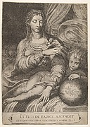 Madonna of the Rose, the Madonna reaches for a rose upheld by the child, who reclines on a drapery and rests his left arm on a globe